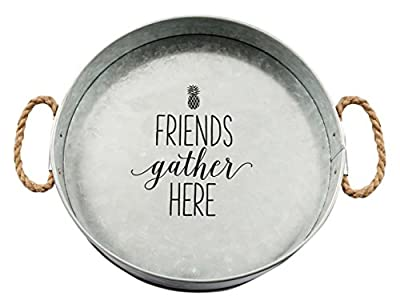 Brownlow Kitchen Friends Gather Here Large Galvanized Metal Serving Tray