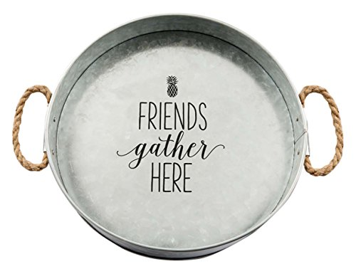 Friends Gather Here Large Galvanized Metal Serving Tray