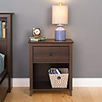Prepac Yaletown 1 Drawer Tall Nightstand, Espresso