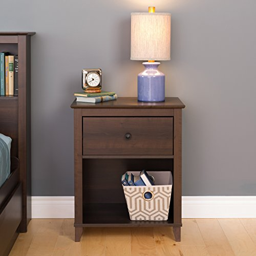 1Drawer Tall Nightstand in Espresso Finish