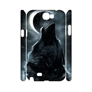 Custom New Case for Samsung Galaxy Note 2 N7100 3D, Wolf and Moon Phone Case - HL-R663414