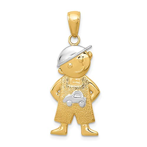 - 14k Yellow Gold Boy Hands In Pockets Pendant Charm Necklace Kid Baby Fine Jewelry Gifts For Women For Her