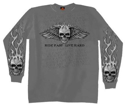 Hot Leathers Bad Scratch Long Sleeve Biker T-Shirt Charcoal, X-Large