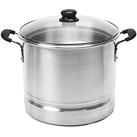 IMUSA USA MEXICANA 420 Steamer With Glass Lid 20 Quart Silver