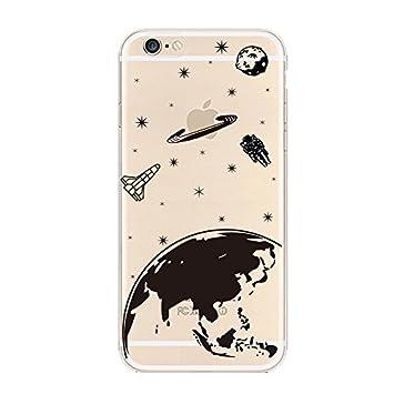 Keyihan iPhone 6 6S Funda Carcasa Divertido Negro Cómic Patrón Suave TPU Silicona Transparente Ultra Delgada y Ligéra Parachoques Carcasa para Apple ...