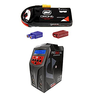 Venom 75C 3S 1300mAh 11.1V Drone Racing LiPo Battery with Universal 2.0 Plug and Venom Pro Duo 80W X2 Dual AC/DC 7A LiPo & NiMH RC Battery Balance Charger Money Saving Combo
