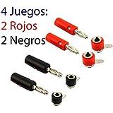 4 Juegos Conectores Banana 4 Conector Macho y 4 Hembra 4mm Rojo y Negro