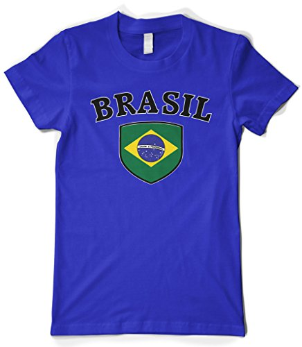 Cybertela Women's Brasil Flag Crest Shield T-Shirt (Royal, Large)