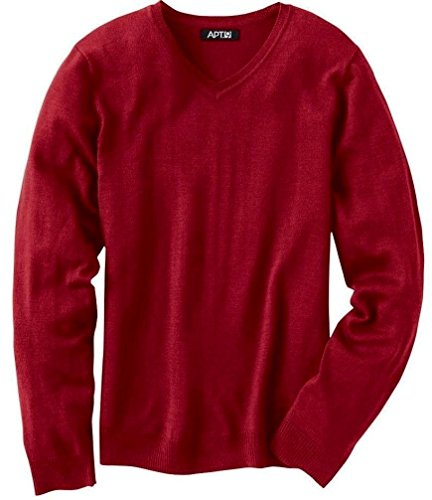 Liz Claiborne Apt 9 Mens Merino Wool Blend Sweater Size Small Solid Wine Red V-Neck