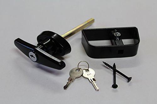 Shed T Handle Lock Kit - Black Steel with Keys