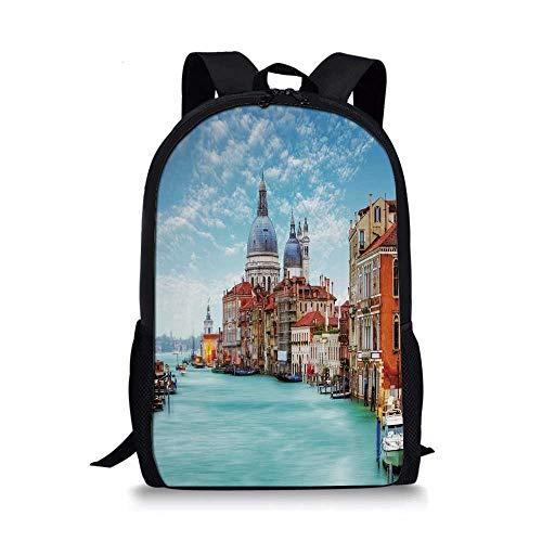 (Italy Stylish School Bag,Grand Canal and Basilica Santa Maria della Salute Historical Architecture for Boys,11''L x 5''W x 17''H)