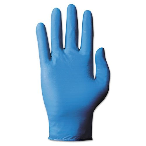 Ansell TNT Blue 92-575 Nitrile Glove, Chemical Resistant, Powdered, Disposable, Rolled Beaded Cuff, 9.5'' Length, 5 mils Thick, Large (Pack of 100)