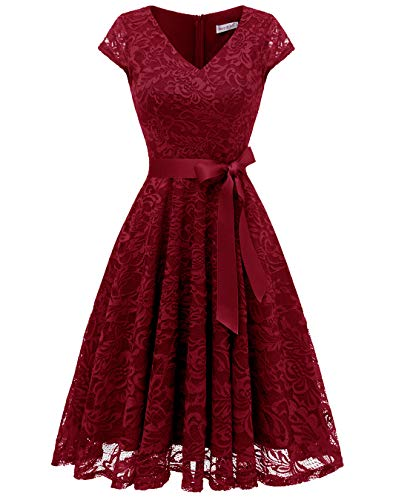 BeryLove Women's Floral Lace Short Bridesmaid Dress Cap Sleeve Cocktail Party Dress BLP7006DarkRedXS