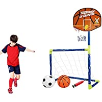 Rimeet® Portable 2 in 1 Football Basketball Set Indoor Outdoor Sport Toy Developmental Game Small (Multi Color)
