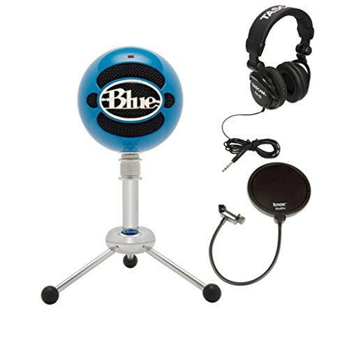 Blue Microphones Snowball Microphone (Neon Blue) w/ Headphones & Knox Pop Filter