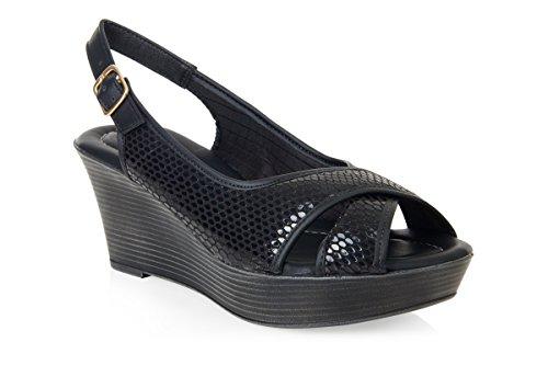 Women's Piccadilly Snake Print Wedge Heel Sandals 164006 Black EHi0U8kd