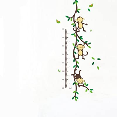 Jungle Zoo Animal Wall Sticker Monkey and Tree Branch Growth Chart Nursery Wall Decal
