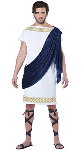 California Costumes Men's Grecian Toga, White/Navy, Medium -