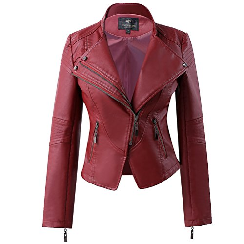 LLF Women's Faux Leather Stand-up Collar Moto Biker Short Jacket Medium Wine Red
