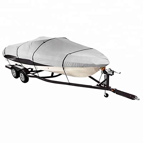- Odthelda Boat Cover 18FT 600D Oxford Cloth Waterproof Boat Cover, Grey,Fits V-Hull,Tri-Hull, Runabout Boat Cover,18ftx75in