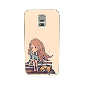 CaseCityLiu - On the Chair with Dog Cartoon Hair Beauty Pattern Design Gold Bumper Metal Frame Full Armor Protect Case Cover for Samsung Galaxy S5