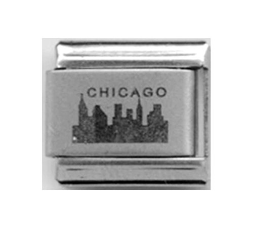 Stylysh Charms Chicago Illinois USA Laser Engraved Italian 9mm Link LC050 -