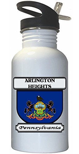 Arlington Heights, Pennsylvania (PA) City White Stainless Steel Water Bottle Straw Top (Arlington Heights City)