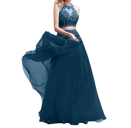 Charmant Partykleider Blau Dunkel Lang Zwei Perlen Fesltichkleider teilig Abendkleider Damen Chiffon Abschlussballkleider r4SRqwrB