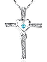 Infinity Love God Cross CZ Pendant Necklace with...