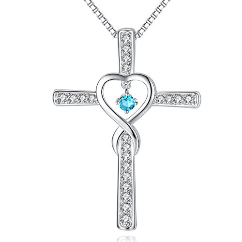 Milamiya December Blue Topaz Birthstone Infinity Endless Love God Cross Pendant Necklace, Birthday Jewelry Gifts for Women Girls Sister Wife Girlfriend Mom Mother Grandma Daughter Friendship