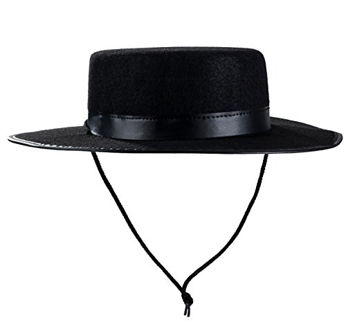 Tigerdoe Spanish Hat - Gaucho Hat, Amish Hat, Black Fedora Flat Top - Costume Hats -