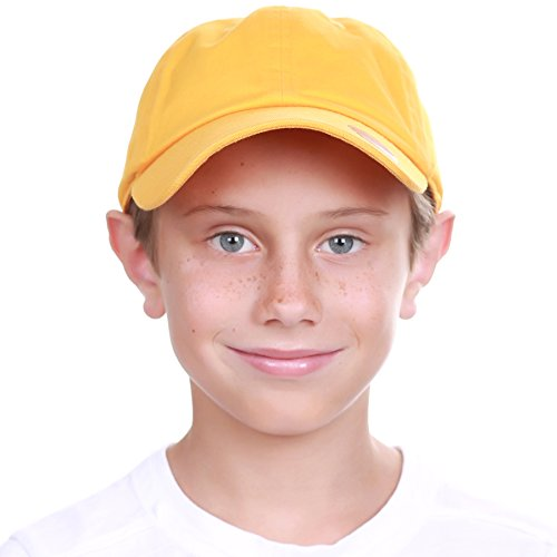 KBC-13LOW GLD (2-5) Kids Boys Girls Hats Washed Low Profile Cotton and Denim Plain Baseball Cap Hat Unisex Headwear