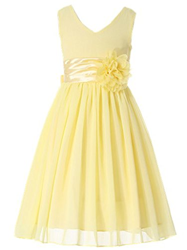 Bow Dream Flower Girl Dress Junior Bridesmaids V-Neckline Chiffon Yellow -