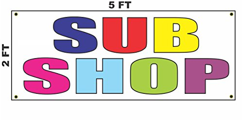 Sub Station Kit - SUB SHOP Multi-Colored Banner Sign 2X5 for Gas Station Convenience Store