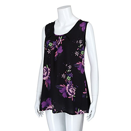 iTLOTL Women Plus Size Print Sleeveless Bandage Tank Vest Blouse Pullover Tops Shirt (US:16/CN:XXXXL, Z-Purple) by iTLOTL (Image #3)
