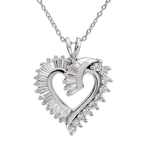 Baguette Heart Necklace - Diamoness Women's Jewelry Sterling Silver Cubic Zirconia Baguette Heart Pendant Necklace, 18