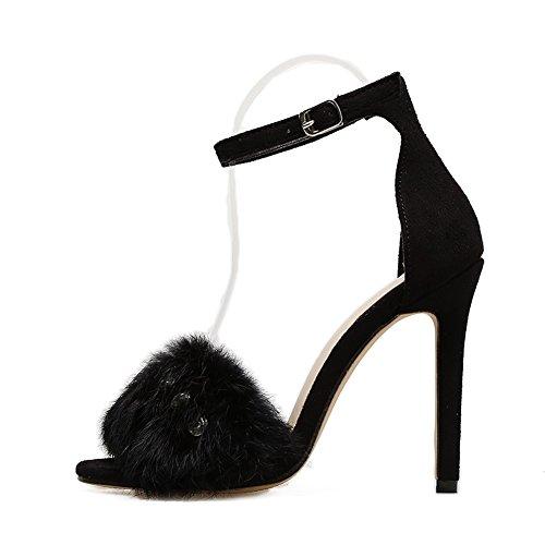 Black Lapin High Avec D'été Femmes Heels Sasa Fourrure Stiletto Strass New Une 5 Chaussures Sandales De Boucle uk5 Eu38 5 FO8RWwcZq