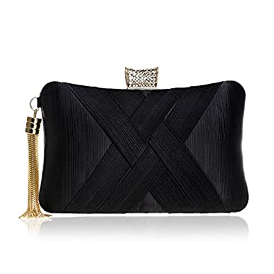CUCTACBCT Women's Evening Clutches Bags Silk Satin Party Handbags Bridal Wedding Prom Purses with Tassel Pendant,Black