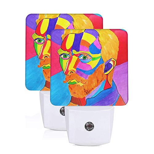 Tlsgcks Van Gogh Portrait Color Handsome Led Night Light Plug in Set of 2 Summer Auto Senor Dusk to Dawn for Kids Adults Indoor Home Decor Theme Bedroom Bathroom Kitchen Hallway