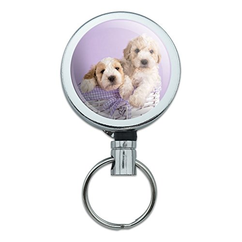 Spoodle Cockapoo Puppies Dogs Wicker Basket Heavy Duty Metal Retractable Reel ID Badge Key Card Tag Holder with Belt Clip ()