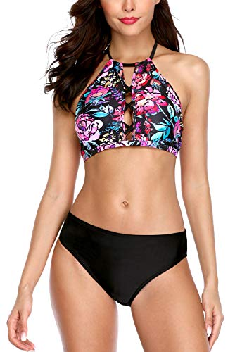 5b38c606c8 Vegatos Women High Neck Halter Bikini Set Padded Two Piece Strappy Bathing  Suit