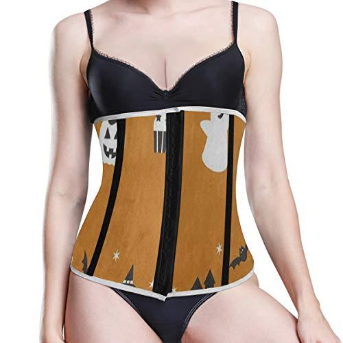 Halloween Night Ghost Bat House Orange Waist Trainer/Cincher/Trimmer/Corset Weight Loss Shaper Womens]()