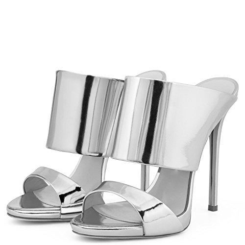 AIWEIYi - Zapatos de tacón  mujer plata