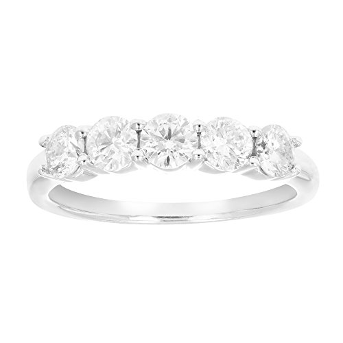 1 ctw 5-Stone IGI Certified Diamond Wedding Band in 14K White Gold In Size 6