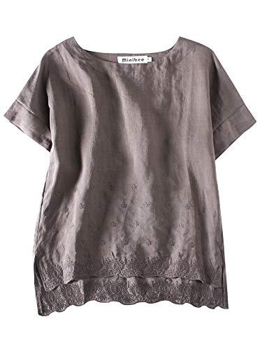 - Minibee Women's Summer Linen Tunic Shirt High Low Hem Embroidery Blouse Top Gray