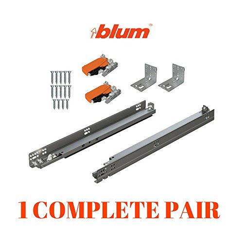 BLUM TANDEM plus BLUMOTION Drawer Slides Complete Pair, With Runners 563H, Locking Devices, Rear Mounting Brackets And Screws (for face frame or frameless application) 15 Inch Slide Mounting Screws