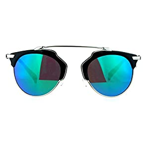 SA106 Womens Metal Outline Bridgeless Half Rim mirrored Sunglasses Black Teal