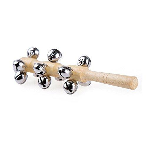 Winstory Handle Wooden Rattle Bell Stick Shaker Sleigh Bells Kids Sound Music Instrument Toys