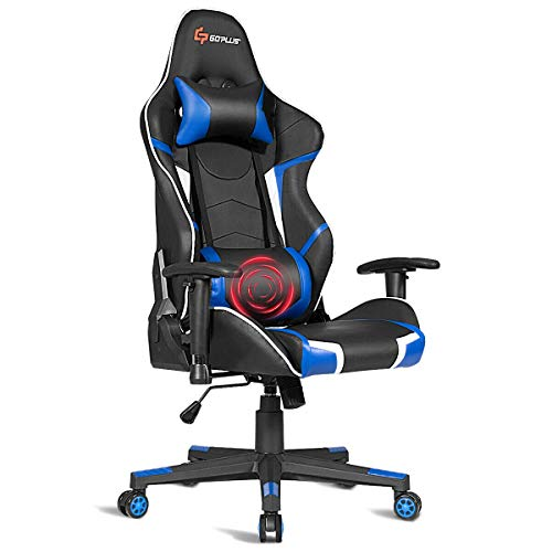 Goplus Massage Gaming Chair, Reclining Backrest Handrails and Seat Height Adjustment Racing Computer Office Chair, Ergonomic High Back PU Leather Swivel Game Chair with Headrest and Lumbar Cushion