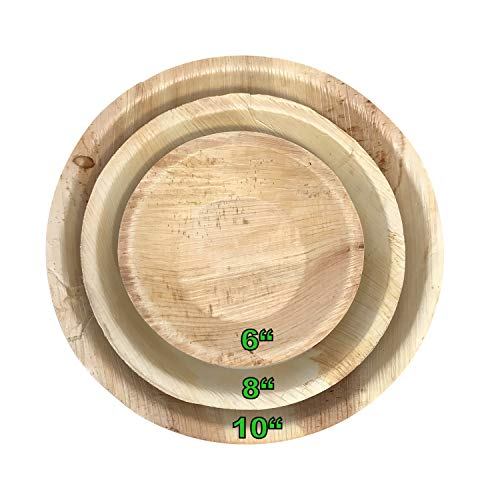 Palm Leaf Plates; All-Natural, Bamboo Style, Organic Disposable Dinnerware-100% Compostable Biodegradable Sustainable Plateware & Serving Platters, Eco-Friendly (25 Pack, 10